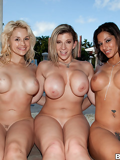Phat precious butts of Sara Jay, Spicy J and Sarah Vandella. These 3 fine porn stars exposed all. these girls put such a show on for Champ he could hardly keep from spraying his cum all over the place.