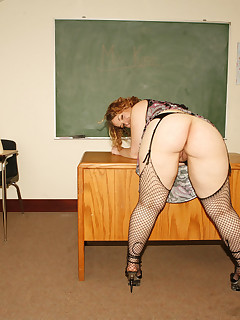 Lewd teacher bends over for a student dong