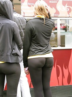 Hot sluts dressed, teasing and stripping in tight, shiny and sexy spandex.