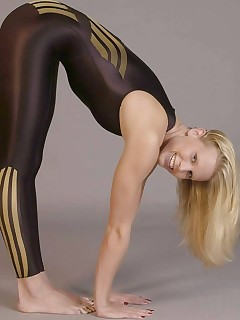 Sexy bitches dressed, teasing and stripping in tight, shiny and hot spandex.