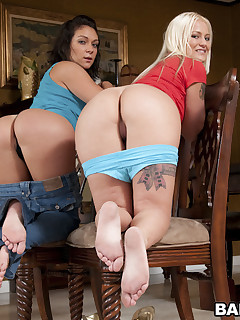 What's better than a white angel with an onion booty? Come see Roxy Love and Torrie work that chubby ass.