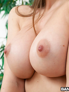 Amateur European Brunette Babe with Massive Natural Tits!