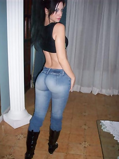 Taut ass cuties in jeans